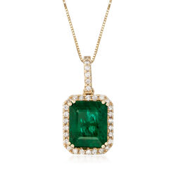 3.70 Carat Emerald and .24 ct. t.w. Diamond Necklace in 14kt Yellow Gold, , default