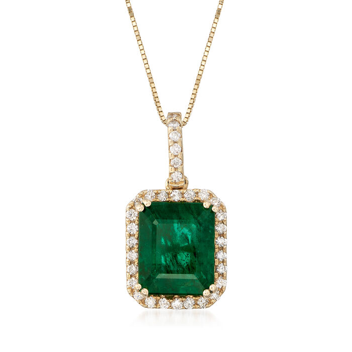 """3.70 Carat Emerald and .24 ct. t.w. Diamond Necklace in 14kt Yellow Gold. 16"""", , default"""