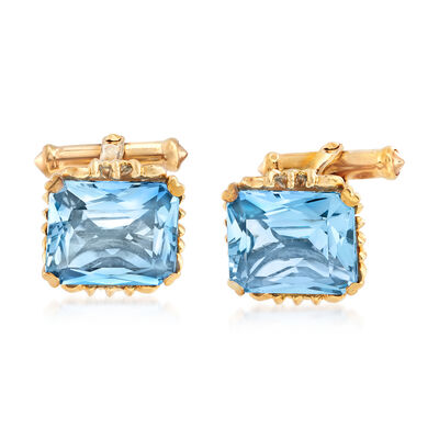 C. 1950 Vintage 19.00 ct. t.w. Synthetic Blue Spinel Cuff Links in 10kt Yellow Gold, , default