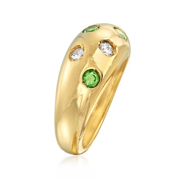 C. 1980 Vintage .30 ct. t.w. Tsavorite and .25 ct. t.w. Diamond Ring in 14kt Yellow Gold. Size 5.5, , default
