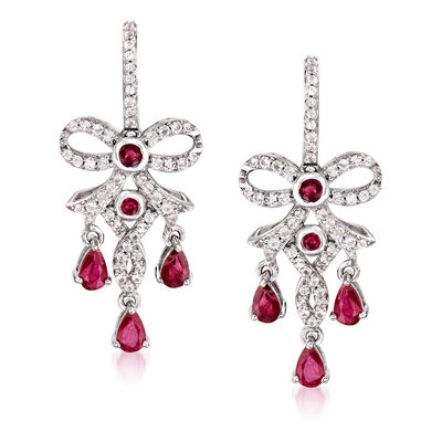 1.20 ct. t.w. Ruby and .60 ct. t.w. White Topaz Chandelier Earrings in Sterling Silver