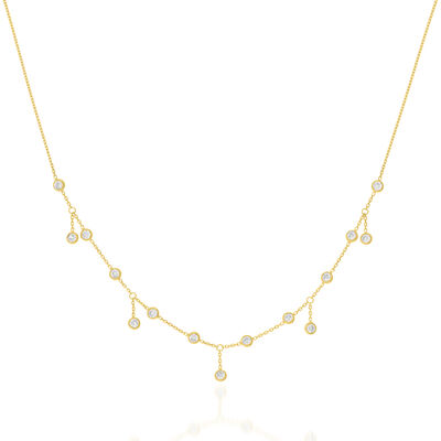 1.50 ct. t.w. CZ Adjustable Necklace in 14kt Yellow Gold