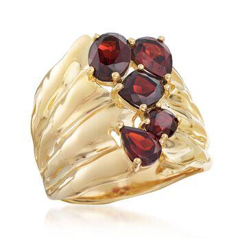 2.80 ct. t.w. Garnet Stacked Cluster Ring in 18kt Gold Over Sterling, , default