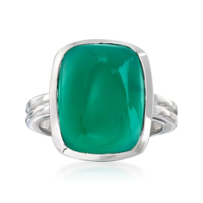 Green Chalcedony Rectangle Ring in Sterling Silver , , default