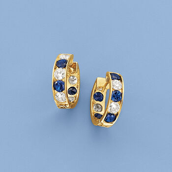 """Simulated Sapphire and 1.00 ct. t.w. CZ Hoop Earrings in 14kt Yellow Gold. 3/8"""""""