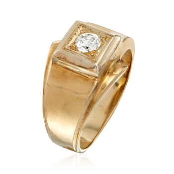 C. 1960 Vintage Men's .30 Carat Diamond Ring in 14kt Yellow Gold. Size 8.5, , default