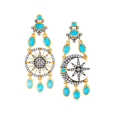 Turquoise and 2.06 ct. t.w. White Topaz Celestial Drop Earrings in 18kt Gold Over Sterling