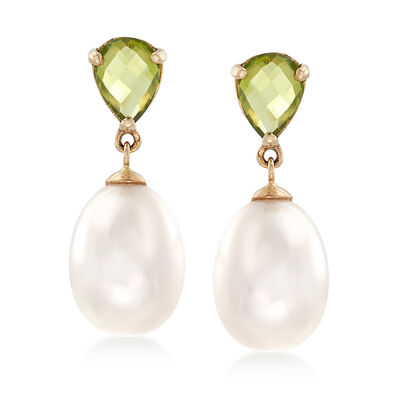 1.90 ct. t.w. Peridot and 10-10.5mm Cultured Pearl Drop Earrings in 14kt Yellow Gold, , default