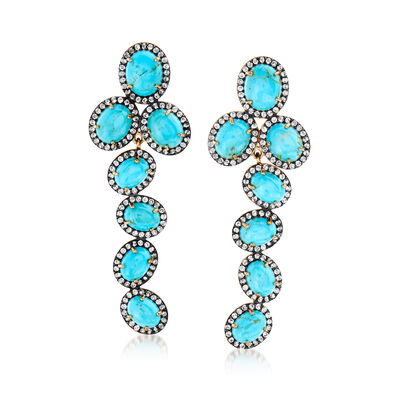 Turquoise and 2.90 ct. t.w. White Topaz Drop Earrings in 18kt Gold Over Sterling, , default