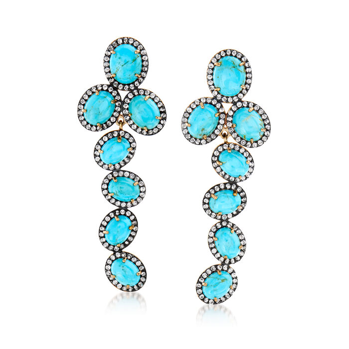 Turquoise and 2.90 ct. t.w. White Topaz Drop Earrings in 18kt Gold Over Sterling