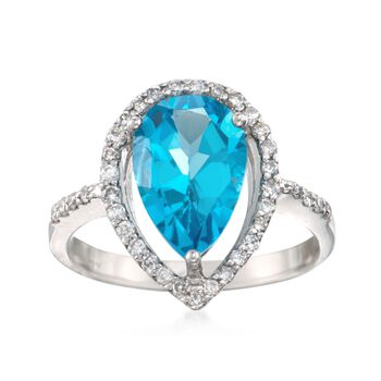 4.00 Carat Blue Topaz and .36 ct. t.w. Diamond Ring in 14kt White Gold , , default