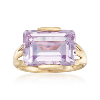 7.25 Carat Pink Amethyst Ring in 14kt Yellow Gold, , default