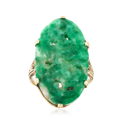 C. 1950 Vintage Carved Green Jade Ring in 14kt White Gold, , default