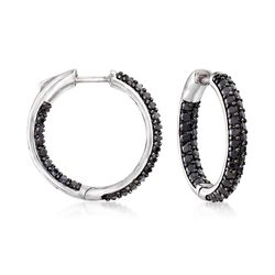 "3.60 ct. t.w. Black Spinel Inside-Outside Hoop Earrings in Sterling Silver. 7/8"", , default"