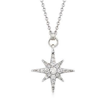 """Gabriel Designs .25 ct. t.w. Diamond Starburst Necklace in 14kt White Gold. 15.5"""", , default"""
