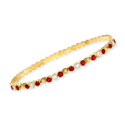 C. 1980 Vintage 1.60 ct. t.w. Ruby and .60 ct. t.w. Diamond Bangle Bracelet in 18kt Yellow Gold, , default