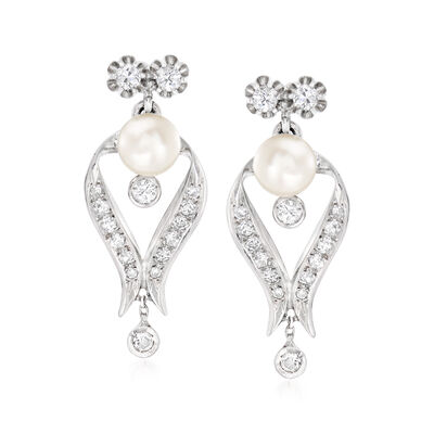 C. 1940 Vintage 7.5mm Cultured Pearl and 1.20 ct. t.w. Diamond Drop Earrings in 14kt White Gold