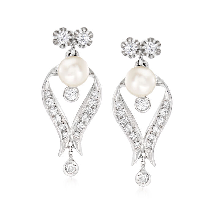 C. 1940 Vintage 7.5mm Cultured Pearl and 1.20 ct. t.w. Diamond Drop Earrings in 14kt White Gold. Pst, , default