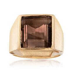 C. 1970 Vintage 7.50 Carat Smoky Quartz Ring in 14kt Yellow Gold. Size 6, , default