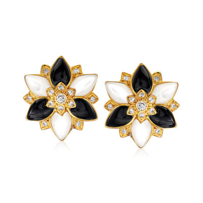 C. 1970 Vintage Mother-Of-Pearl and .55 ct. t.w. Diamond Floral Earrings with Black Onyx in 18kt Yellow Gold