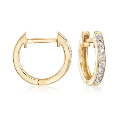 .10 ct. t.w. Diamond Huggie Hoop Earrings in 14kt Yellow Gold, , default