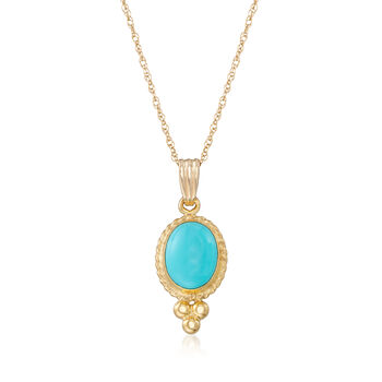 """Turquoise Rope Bezel Pendant Necklace in 14kt Yellow Gold. 18"""", , default"""