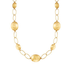 "C. 2000 Vintage 18kt Yellow Gold Bead and Link Necklace. 19"", , default"