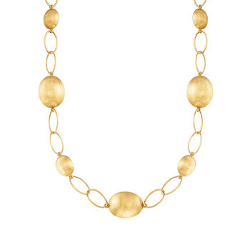 """C. 2000 Vintage 18kt Yellow Gold Bead and Link Necklace. 19"""", , default"""