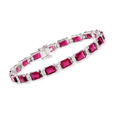 18.00 ct. t.w. Simulated Ruby and .80 ct. t.w. CZ Bracelet in Sterling Silver, , default