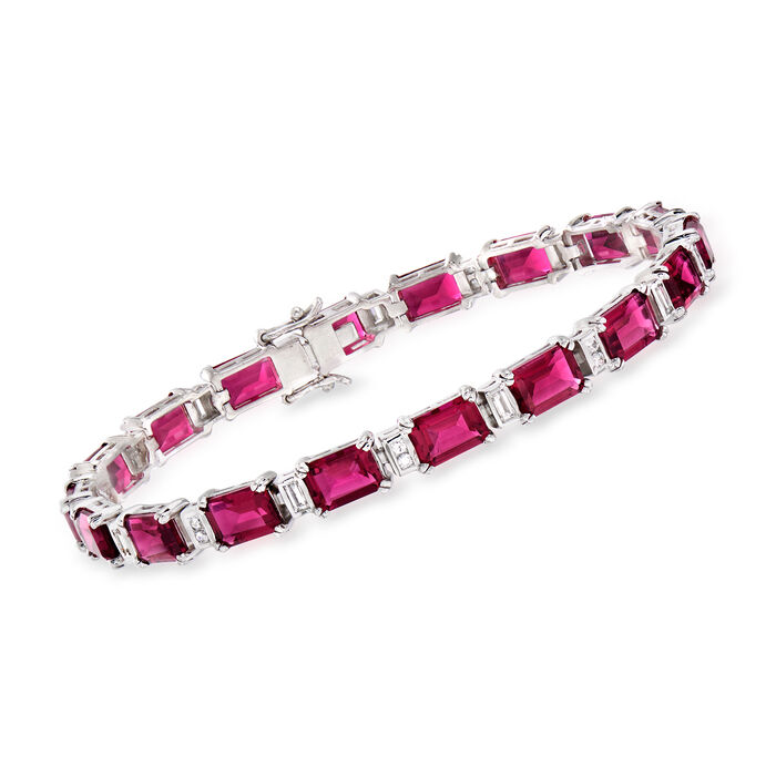 """18.00 ct. t.w. Simulated Ruby and .80 ct. t.w. CZ Bracelet in Sterling Silver. 7"""", , default"""