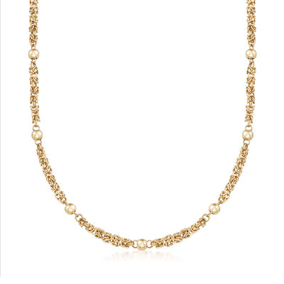 14kt Yellow Gold Byzantine Beaded Station Necklace, , default