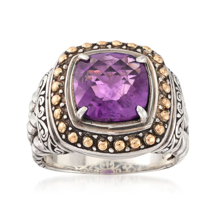 3.70 Carat Amethyst Ring in Sterling Silver and 18kt Yellow Gold, , default
