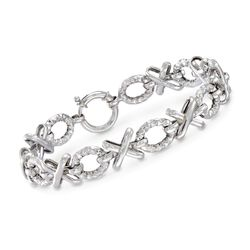 "Sterling Silver Textured and Polished XO Bracelet . 7"", , default"