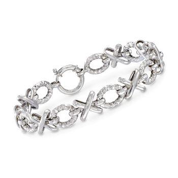 Sterling Silver Textured and Polished XO Bracelet , , default