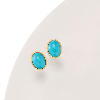 Italian Turquoise Stud Earrings in 14kt Yellow Gold, , default