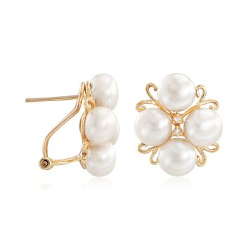 6-6.5mm Cultured Pearl Cluster Earrings with Diamond Accents in 14kt Gold