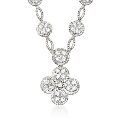 4.60 ct. t.w. Diamond Clover Drop Necklace in 14kt White Gold, , default