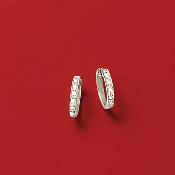 "Diamond-Accented Huggie Hoop Earrings in Sterling Silver. 3/8"", , default"