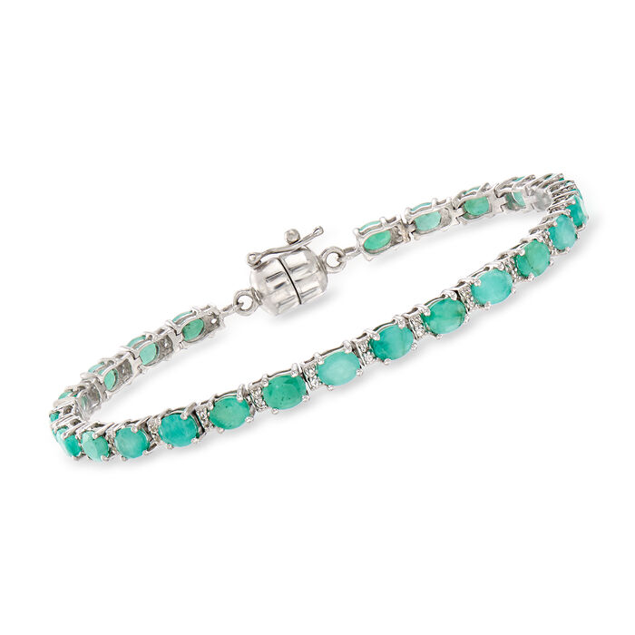 6.25 ct. t.w. Emerald and .20 ct. t.w. White Topaz Tennis Bracelet in Sterling Silver with Magnetic Clasp, , default