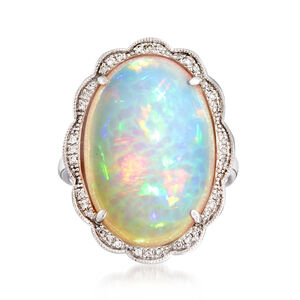 White Opal and .10 ct. t.w. Diamond Ring in 14kt White Gold. #937608
