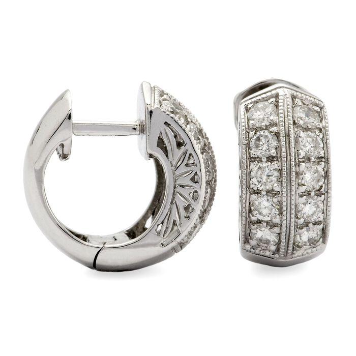 1.10 ct. t.w. Diamond Hoop Earrings  in 14kt White Gold , , default