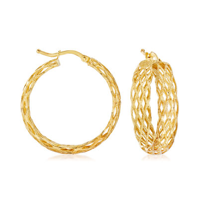 Italian 18kt Gold Over Sterling Silver Lattice Hoop Earrings