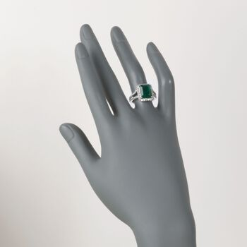 4.80 Carat Emerald and 1.00 ct. t.w. Diamond Ring in 14kt White Gold, , default
