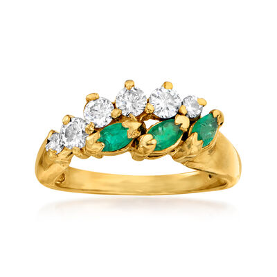 C. 1990 Vintage .50 ct. t.w. Diamond and .30 ct. t.w. Emerald Ring in 14kt Yellow Gold