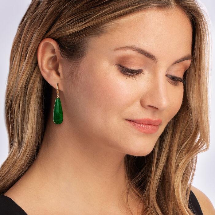 Jade Drop Earrings in 14kt Yellow Gold