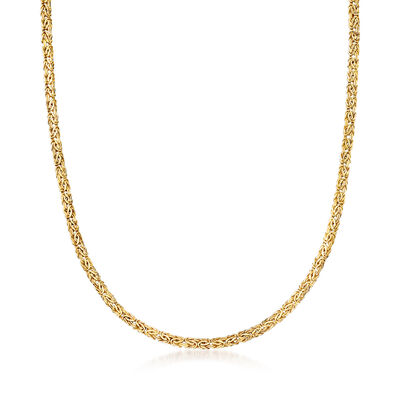 14kt Yellow Gold Small Flat Byzantine Necklace with Magnetic Clasp, , default