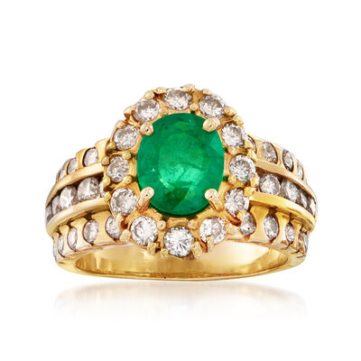 C. 1980 Vintage 1.00 Carat Emerald and 1.25 ct. t.w. Diamond Halo Ring in 14kt Yellow Gold, , default