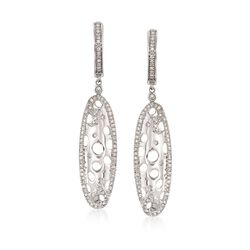 .35 ct. t.w. Diamond Openwork Oval Drop Earrings in 14kt White Gold, , default