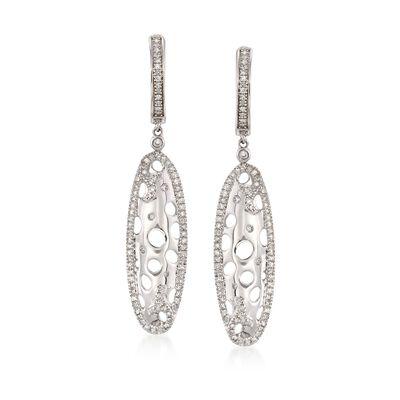 .35 ct. t.w. Diamond Openwork Oval Drop Earrings in 14kt White Gold, , default
