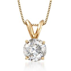 "1.25 Carat Diamond Solitaire Necklace in 14kt Yellow Gold. 18"", , default"